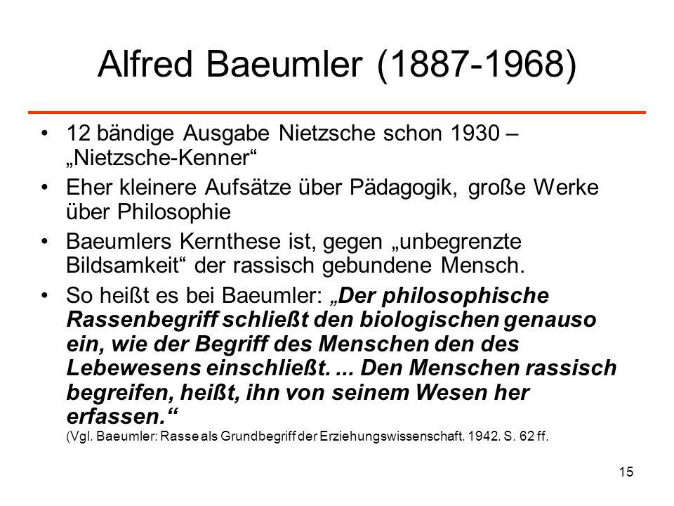 "Alfred Baeumler (1887-1968) 12 bändige Ausgabe Nietzsche schon 1930 – ""Nietzsche-Kenner"