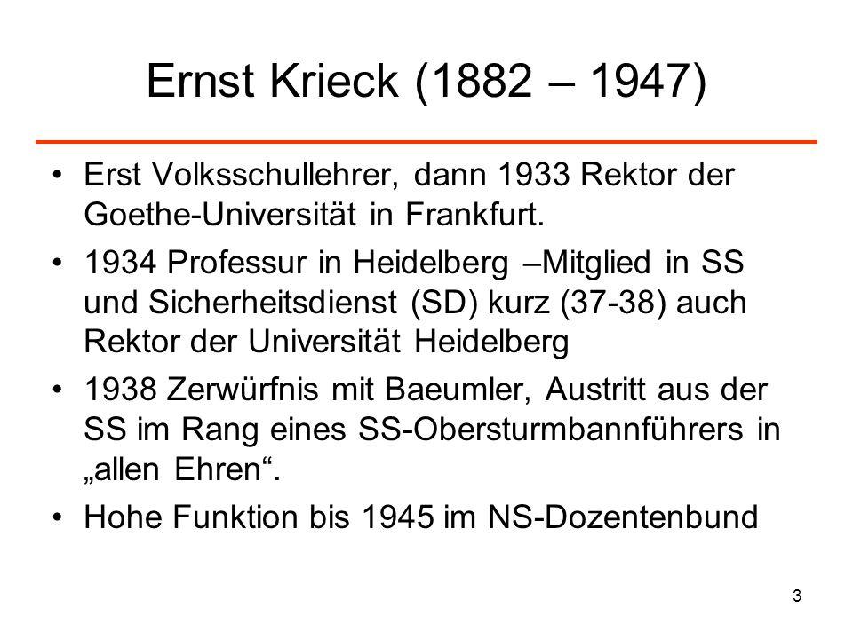 Ernst Krieck (1882 – 1947) Erst Volksschullehrer, dann 1933 Rektor der Goethe-Universität in Frankfurt.