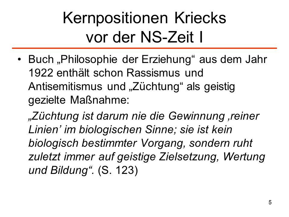 Kernpositionen Kriecks vor der NS-Zeit I