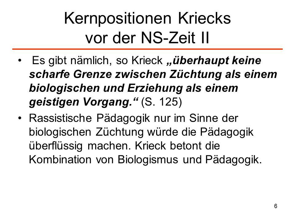 Kernpositionen Kriecks vor der NS-Zeit II