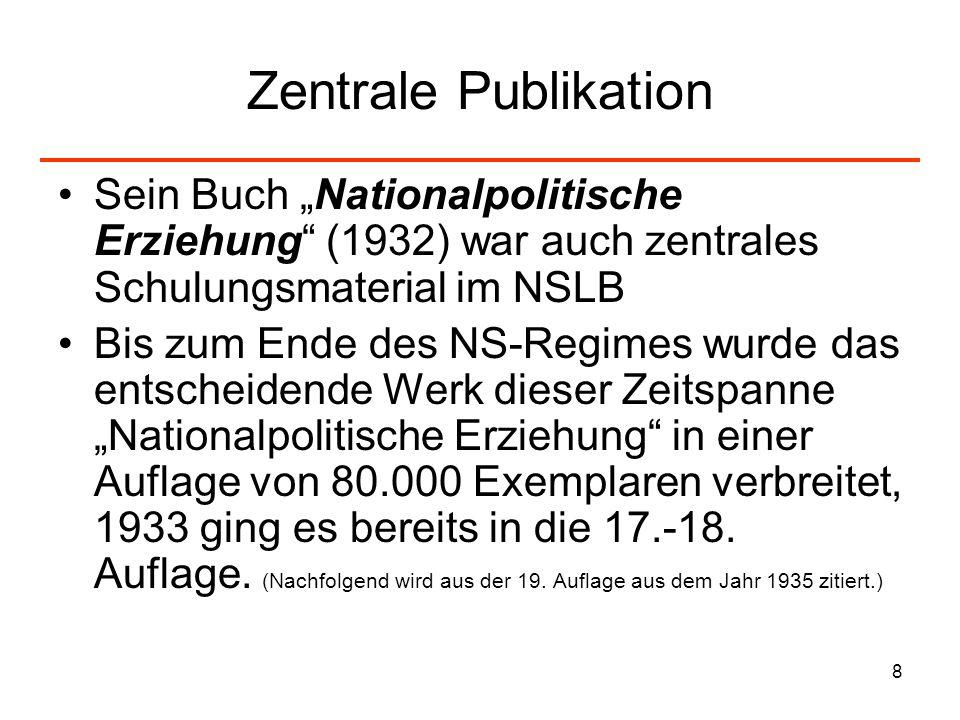 """Zentrale Publikation Sein Buch """"Nationalpolitische Erziehung (1932) war auch zentrales Schulungsmaterial im NSLB."""