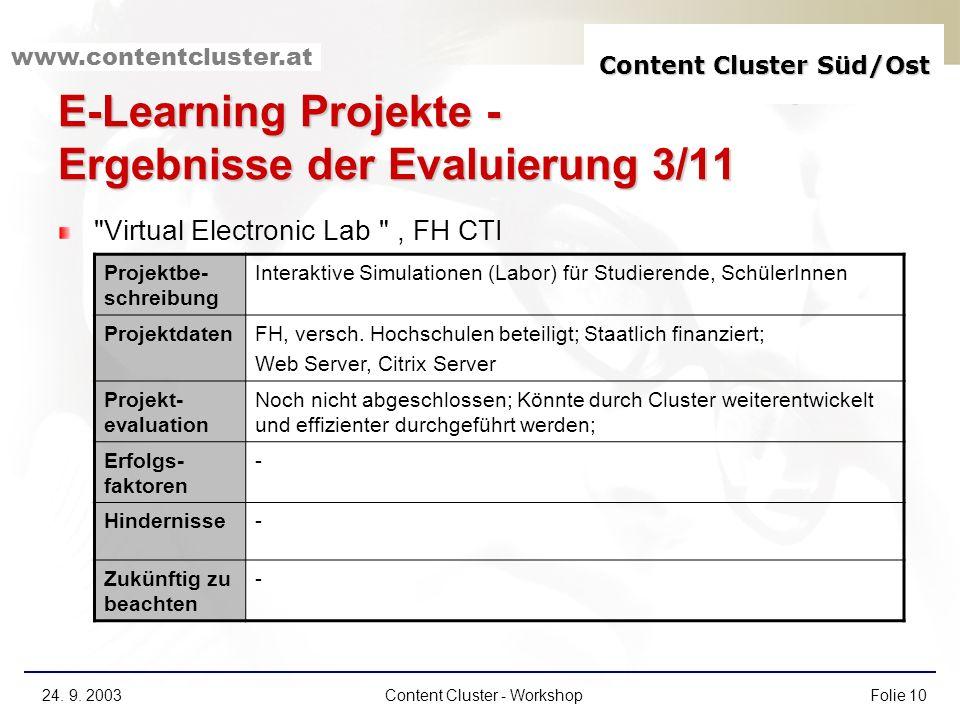 E-Learning Projekte - Ergebnisse der Evaluierung 3/11