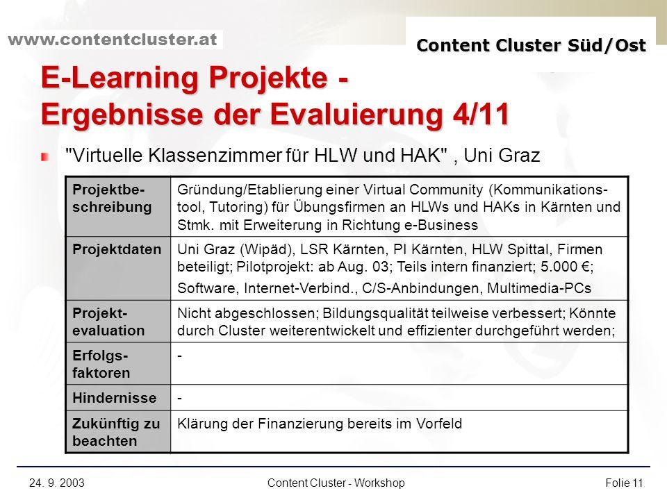 E-Learning Projekte - Ergebnisse der Evaluierung 4/11