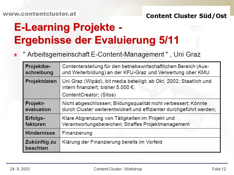 E-Learning Projekte - Ergebnisse der Evaluierung 5/11