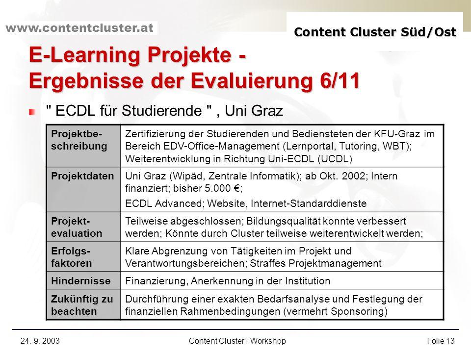 E-Learning Projekte - Ergebnisse der Evaluierung 6/11