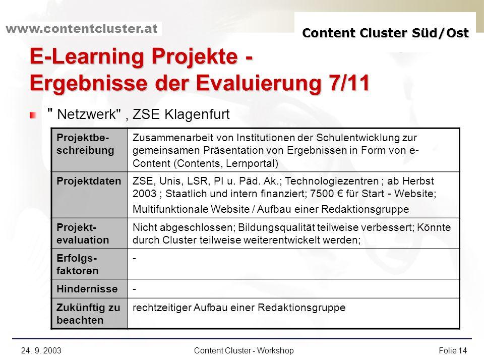 E-Learning Projekte - Ergebnisse der Evaluierung 7/11