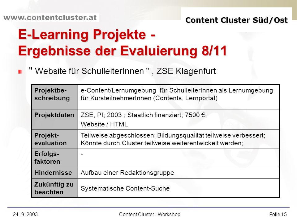 E-Learning Projekte - Ergebnisse der Evaluierung 8/11