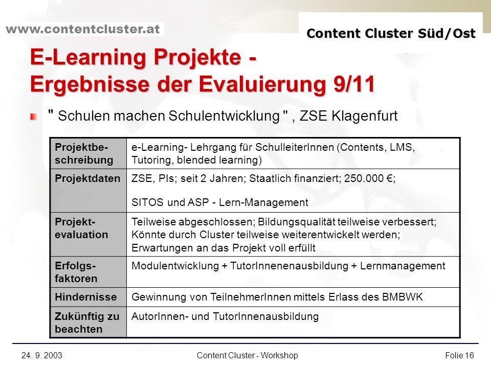 E-Learning Projekte - Ergebnisse der Evaluierung 9/11