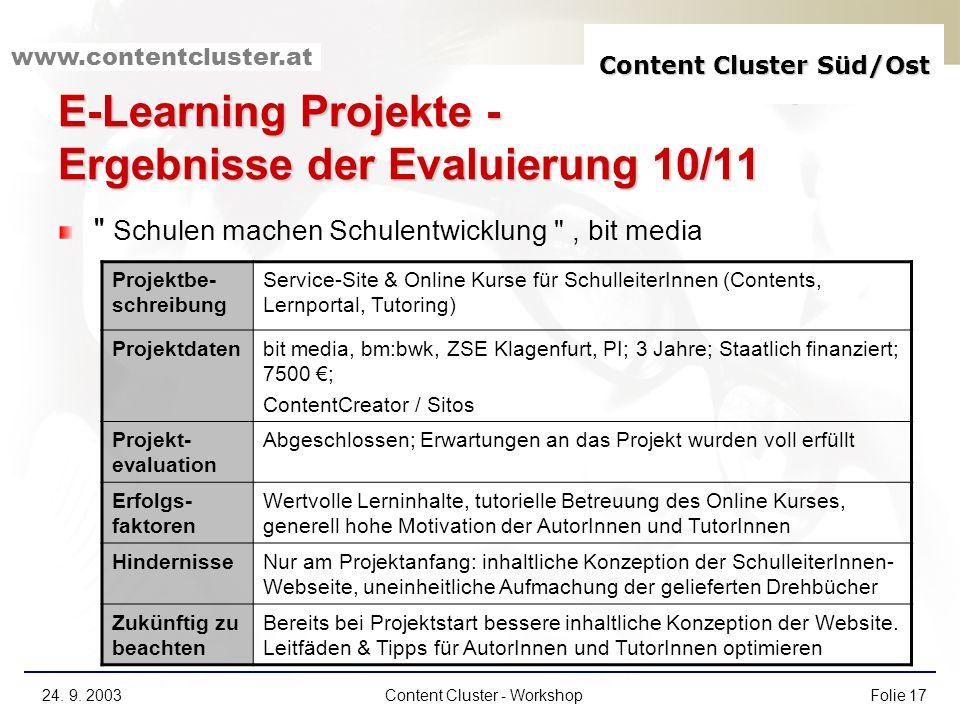 E-Learning Projekte - Ergebnisse der Evaluierung 10/11