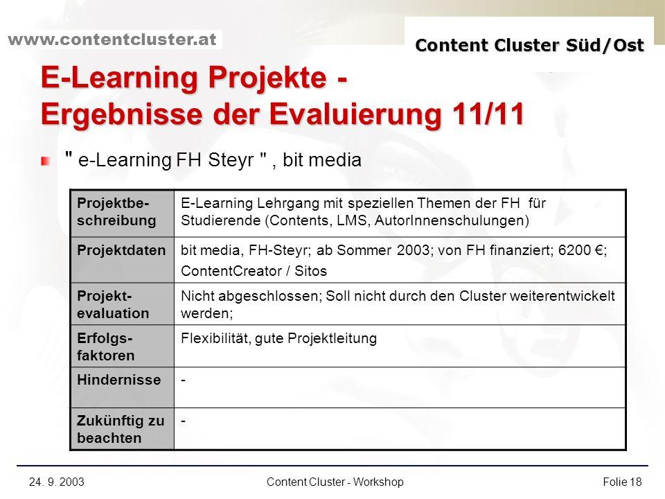 E-Learning Projekte - Ergebnisse der Evaluierung 11/11