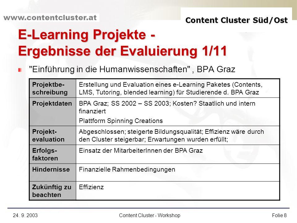 E-Learning Projekte - Ergebnisse der Evaluierung 1/11