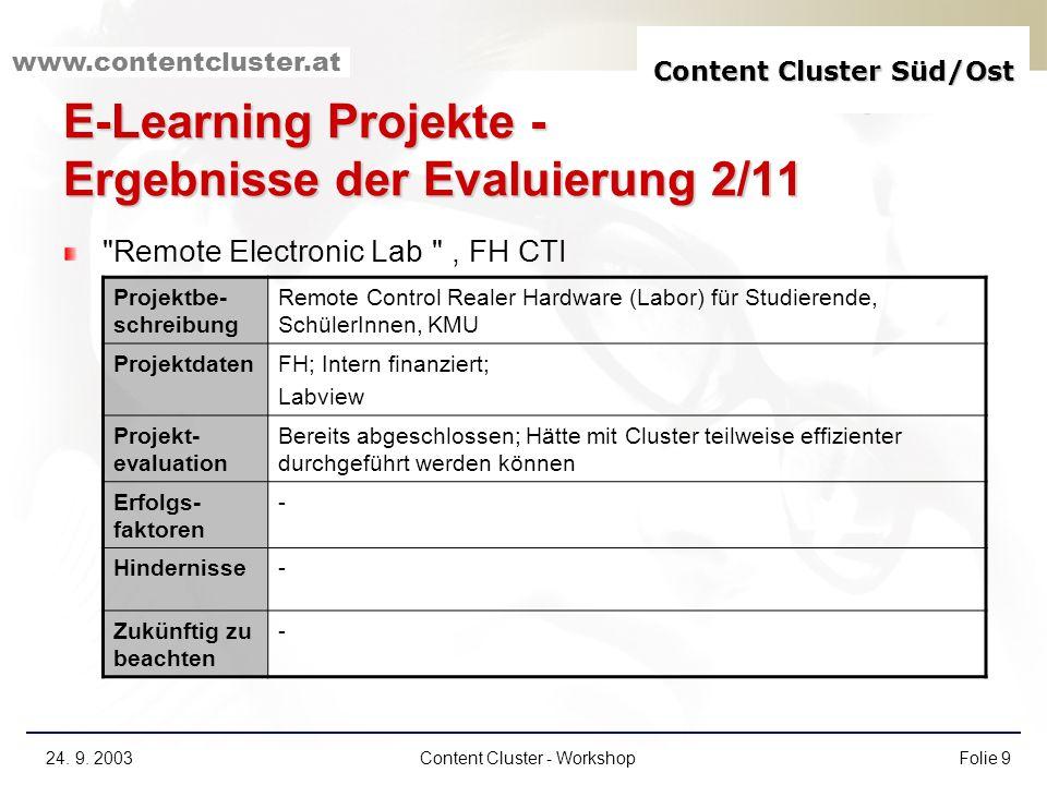 E-Learning Projekte - Ergebnisse der Evaluierung 2/11