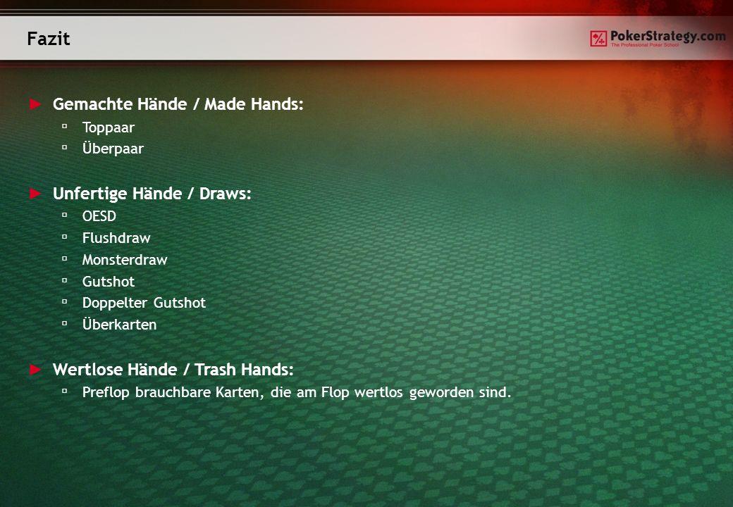 Fazit Gemachte Hände / Made Hands: Unfertige Hände / Draws: