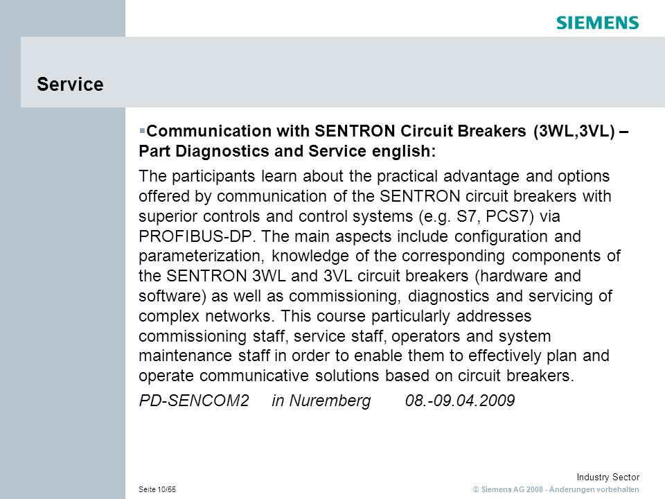 ServiceCommunication with SENTRON Circuit Breakers (3WL,3VL) – Part Diagnostics and Service english: