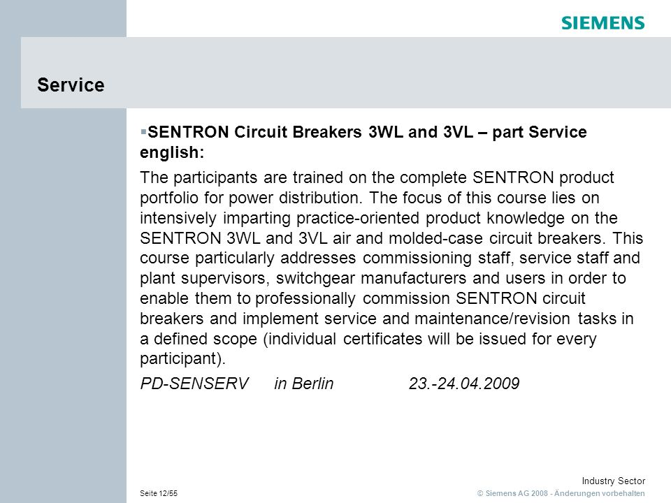 Service SENTRON Circuit Breakers 3WL and 3VL – part Service english: