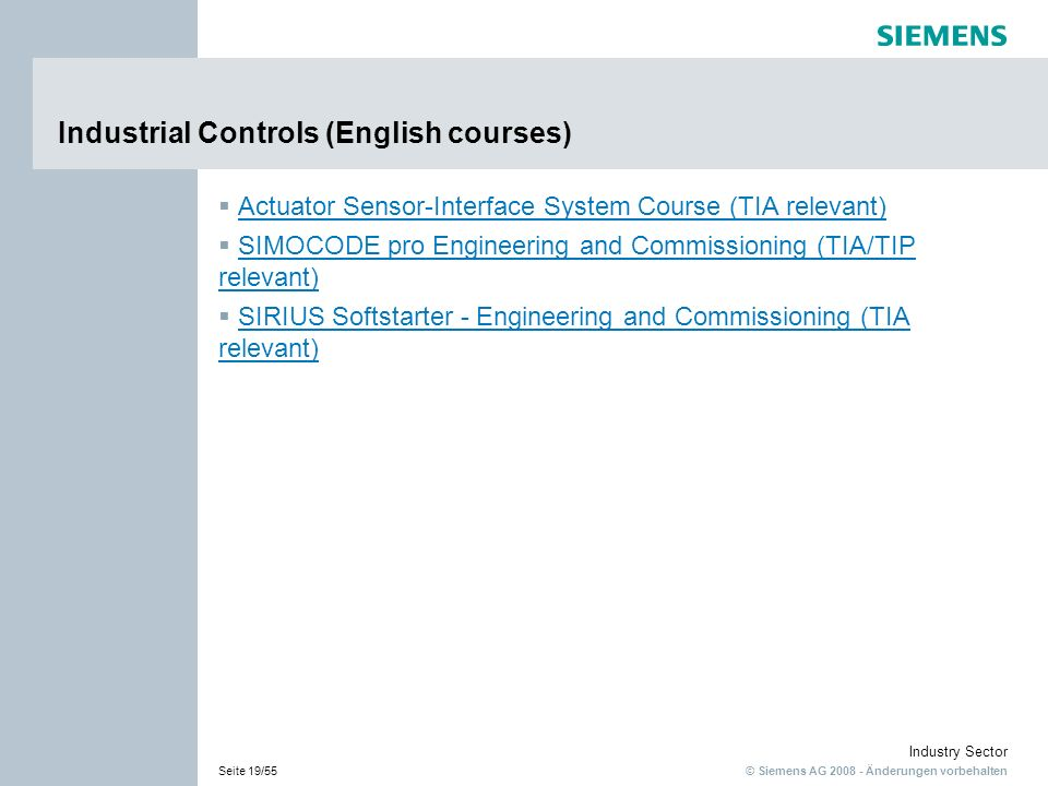 Industrial Controls (English courses)