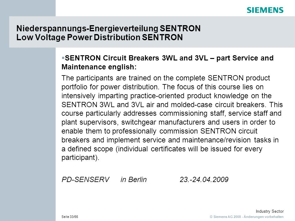 Niederspannungs-Energieverteilung SENTRON Low Voltage Power Distribution SENTRON