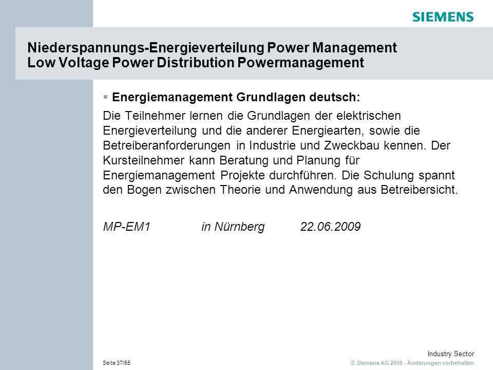Niederspannungs-Energieverteilung Power Management Low Voltage Power Distribution Powermanagement