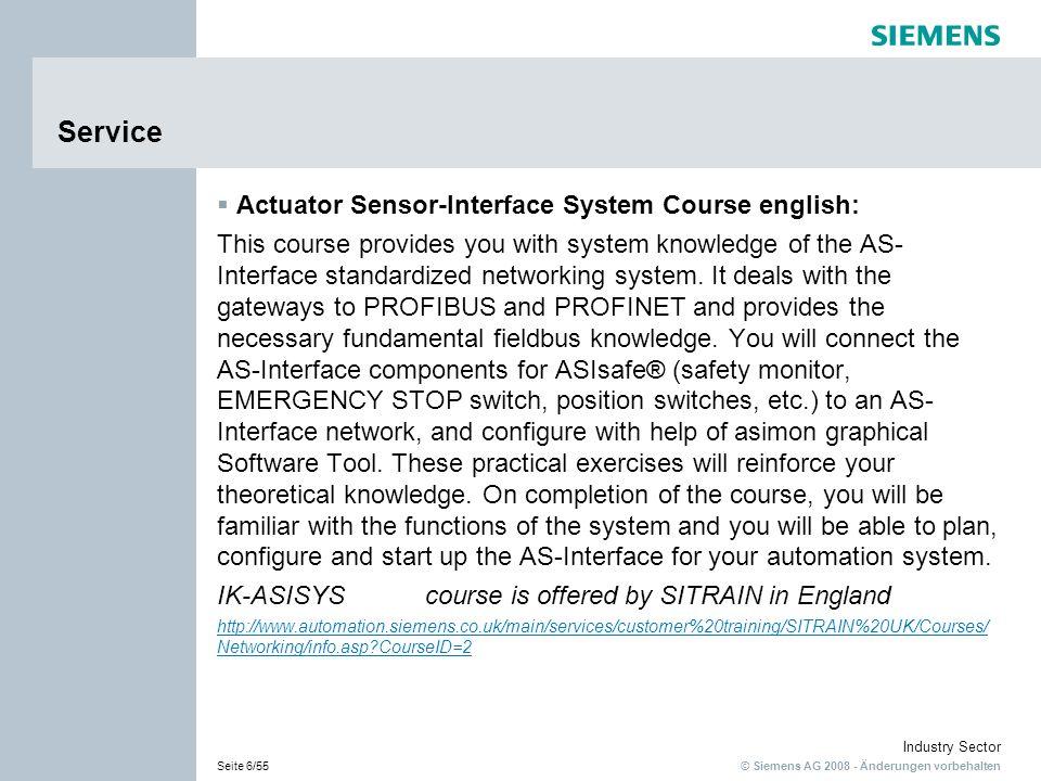 Service Actuator Sensor-Interface System Course english:
