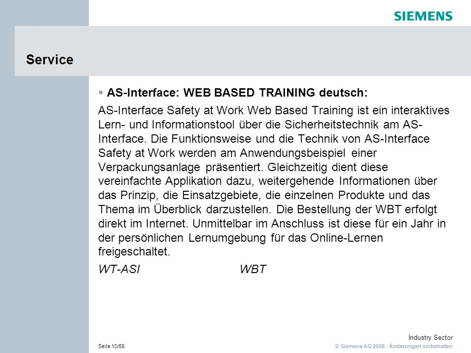 Service AS-Interface: WEB BASED TRAINING deutsch:
