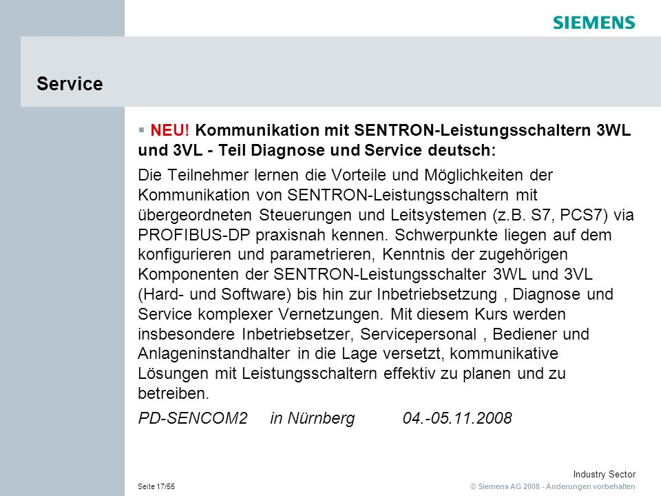Service NEU! Kommunikation mit SENTRON-Leistungsschaltern 3WL und 3VL - Teil Diagnose und Service deutsch: