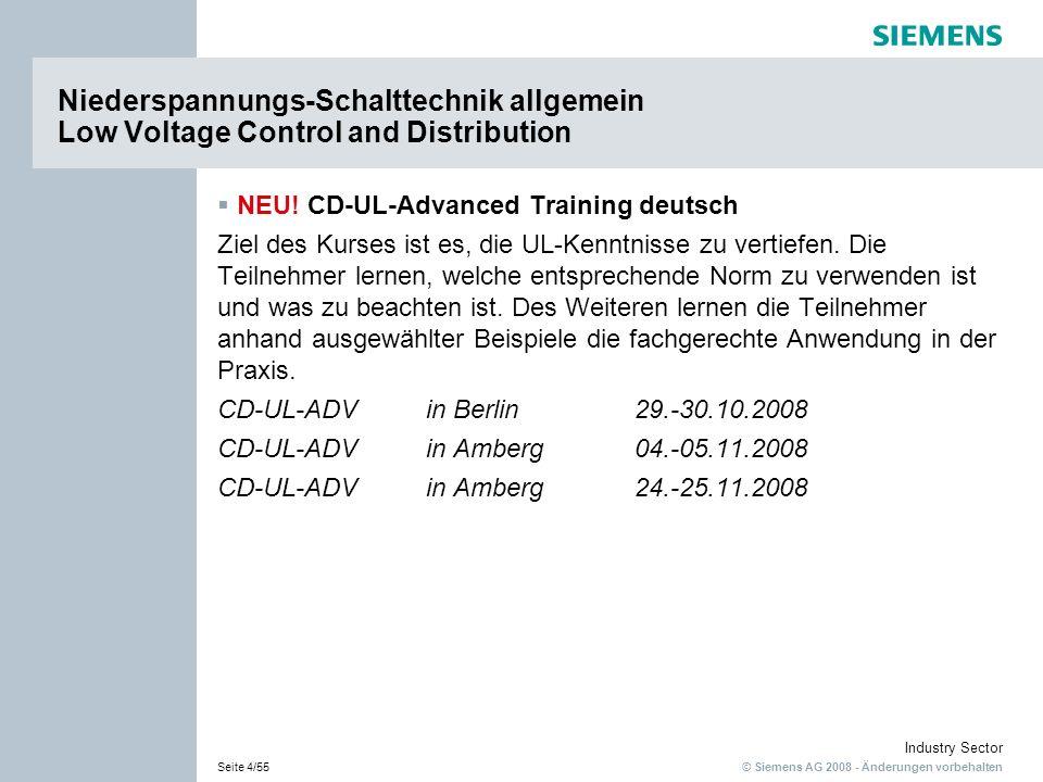Niederspannungs-Schalttechnik allgemein Low Voltage Control and Distribution