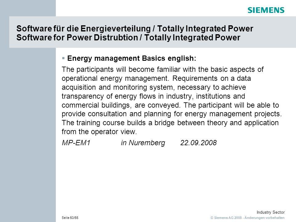 Software für die Energieverteilung / Totally Integrated Power Software for Power Distrubtion / Totally Integrated Power