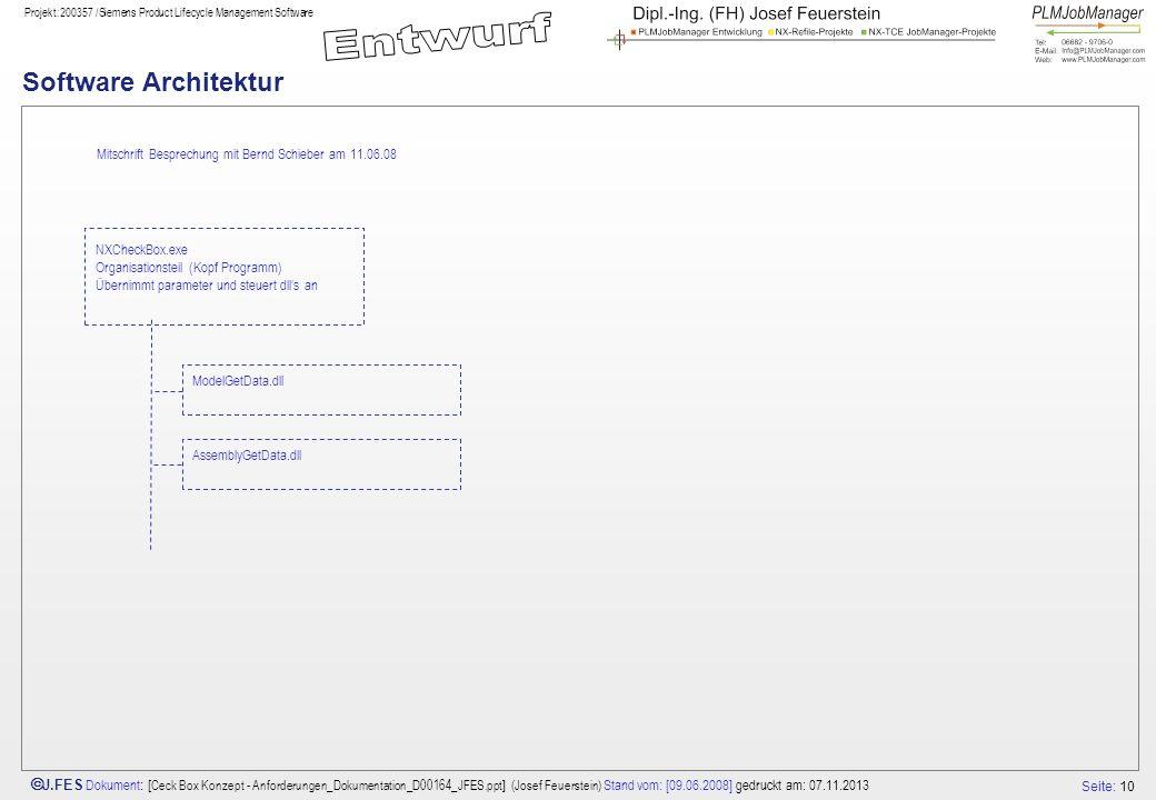 Software Architektur Mitschrift Besprechung mit Bernd Schieber am 11.06.08. NXCheckBox.exe Organisationsteil (Kopf Programm)