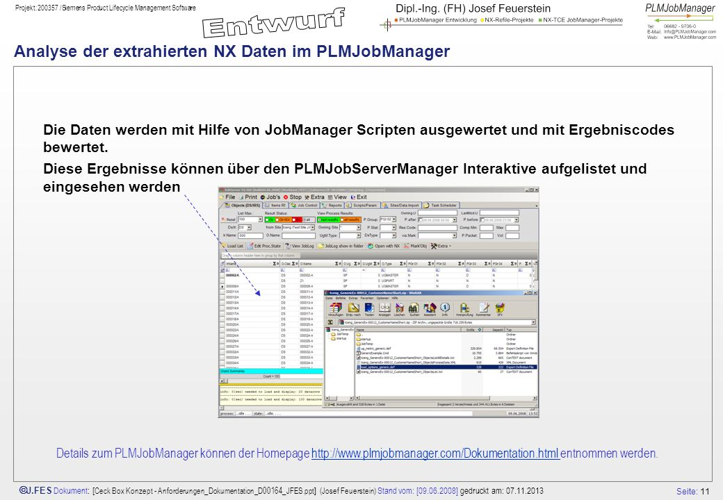 Analyse der extrahierten NX Daten im PLMJobManager