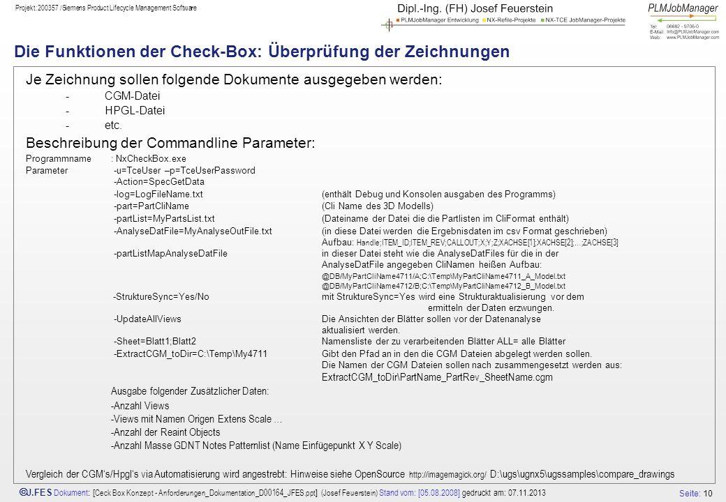 Die Funktionen der Check-Box: Überprüfung der Zeichnungen
