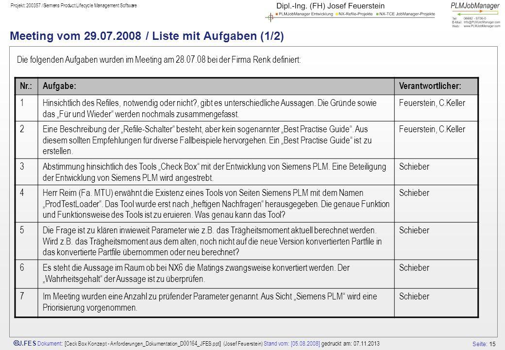 Meeting vom 29.07.2008 / Liste mit Aufgaben (1/2)