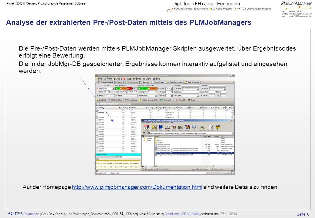 Analyse der extrahierten Pre-/Post-Daten mittels des PLMJobManagers