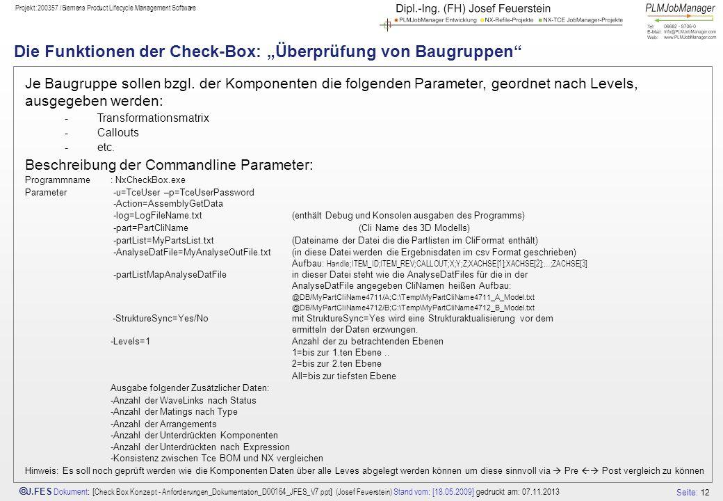 """Die Funktionen der Check-Box: """"Überprüfung von Baugruppen"""