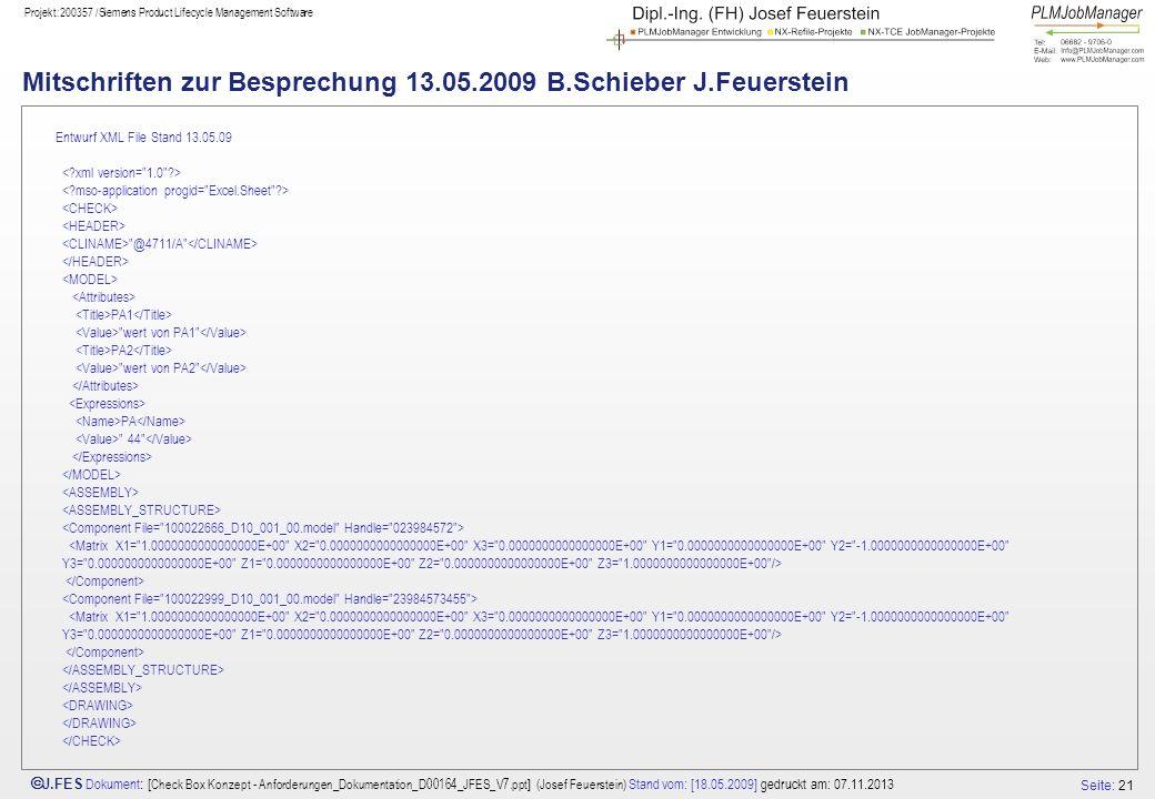 Mitschriften zur Besprechung 13.05.2009 B.Schieber J.Feuerstein