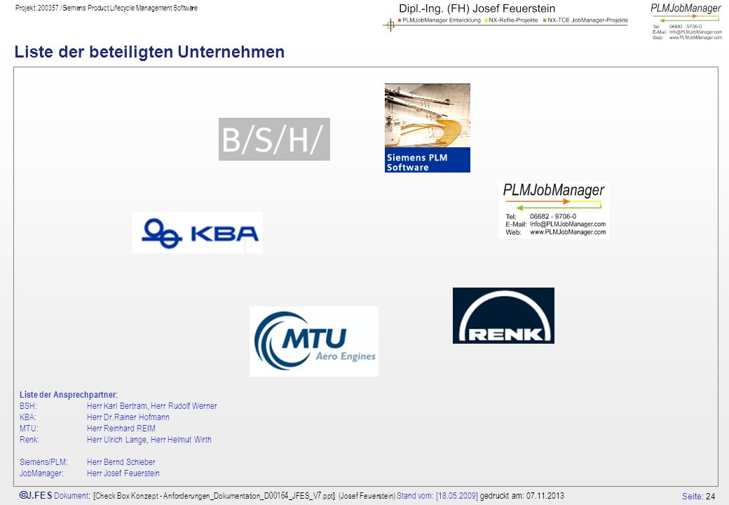 Liste der beteiligten Unternehmen