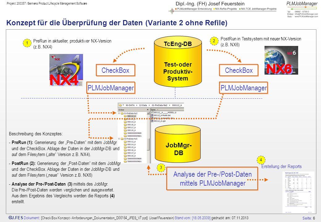 Konzept für die Überprüfung der Daten (Variante 2 ohne Refile)