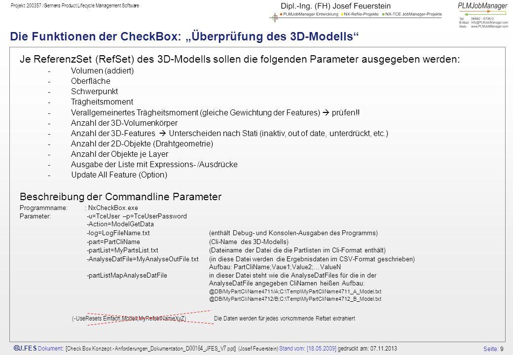"""Die Funktionen der CheckBox: """"Überprüfung des 3D-Modells"""