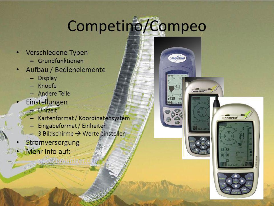 Competino/Compeo Verschiedene Typen Aufbau / Bedienelemente