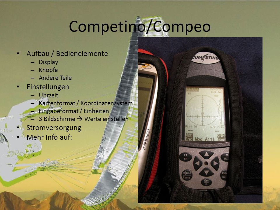 Competino/Compeo Aufbau / Bedienelemente Einstellungen Stromversorgung