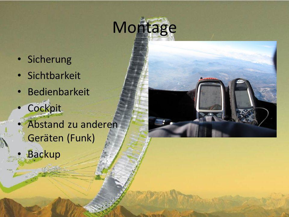 Montage Sicherung Sichtbarkeit Bedienbarkeit Cockpit
