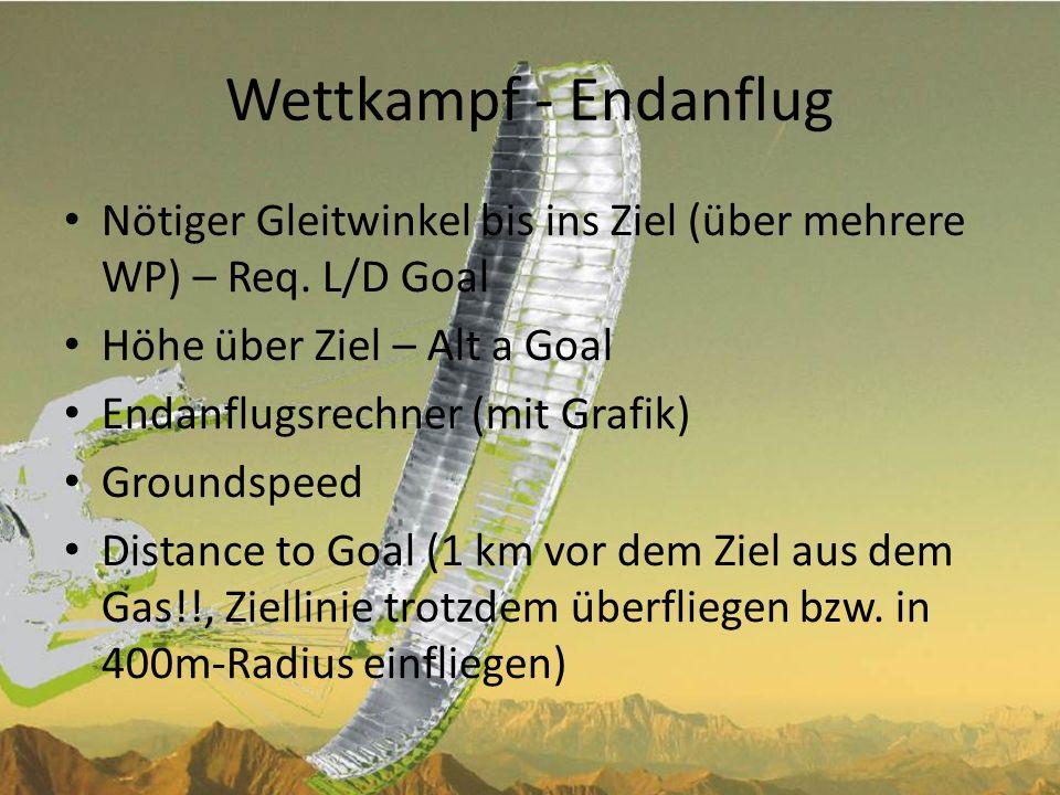 Wettkampf - EndanflugNötiger Gleitwinkel bis ins Ziel (über mehrere WP) – Req. L/D Goal. Höhe über Ziel – Alt a Goal.