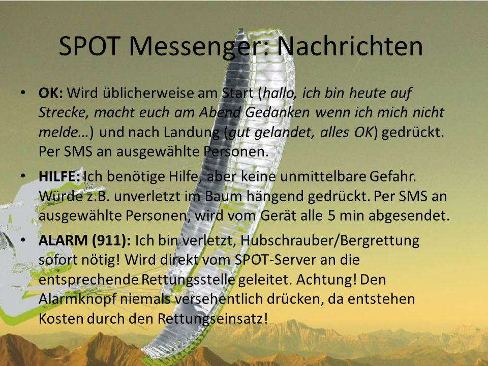 SPOT Messenger: Nachrichten