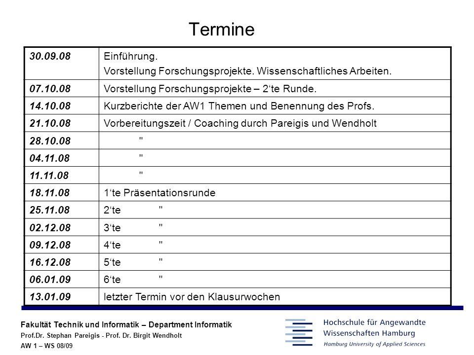 Termine 30.09.08. Einführung. Vorstellung Forschungsprojekte. Wissenschaftliches Arbeiten. 07.10.08.