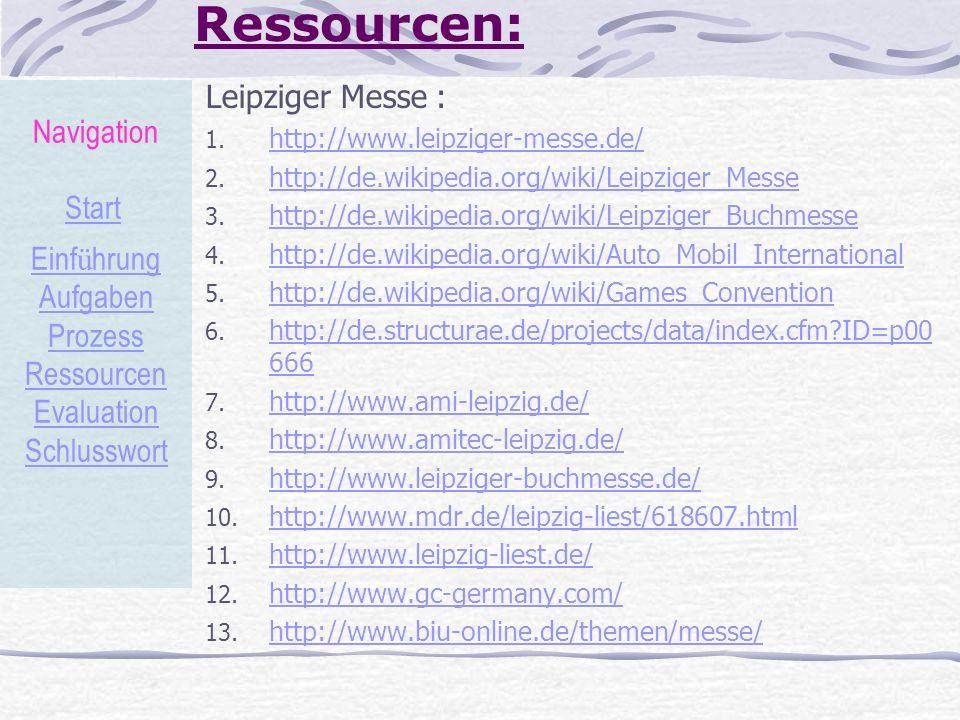Ressourcen: Leipziger Messe : Navigation Start Einführung Aufgaben