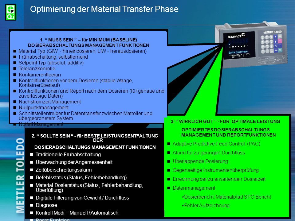 Optimierung der Material Transfer Phase
