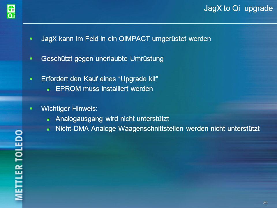 JagX to Qi upgrade JagX kann im Feld in ein QiMPACT umgerüstet werden