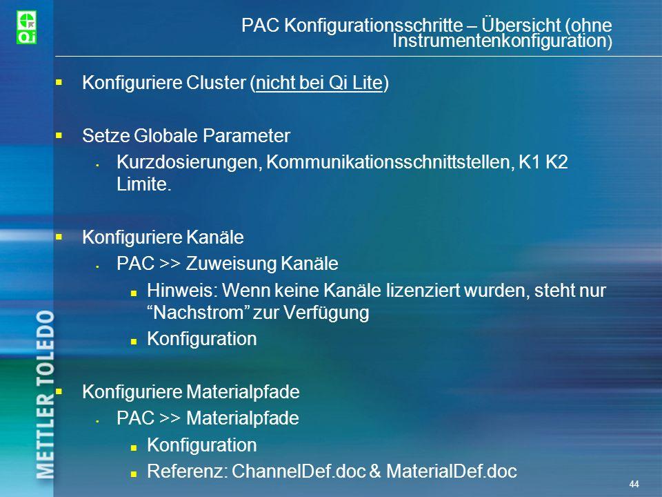 Konfiguriere Cluster (nicht bei Qi Lite) Setze Globale Parameter
