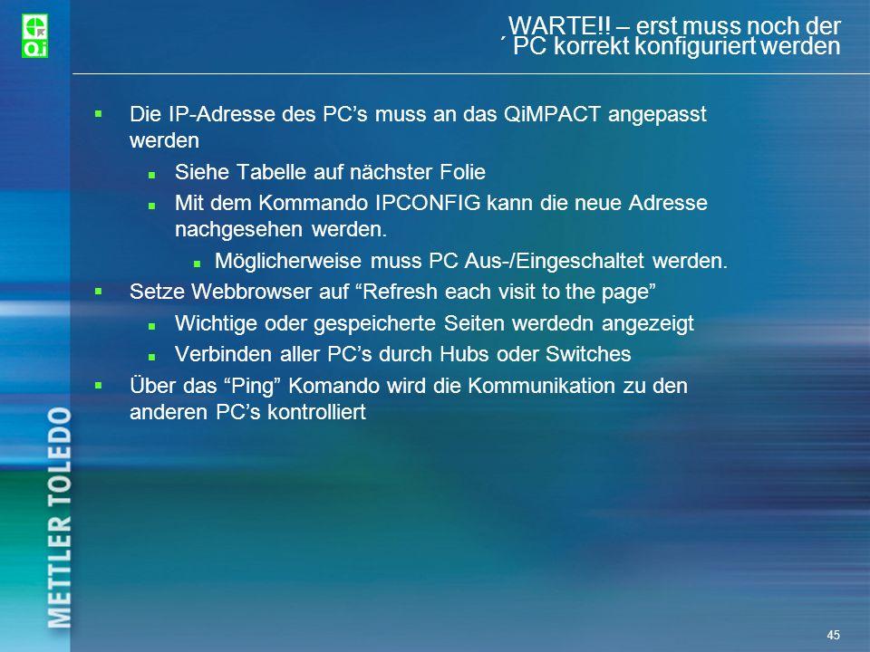WARTE!! – erst muss noch der ´ PC korrekt konfiguriert werden
