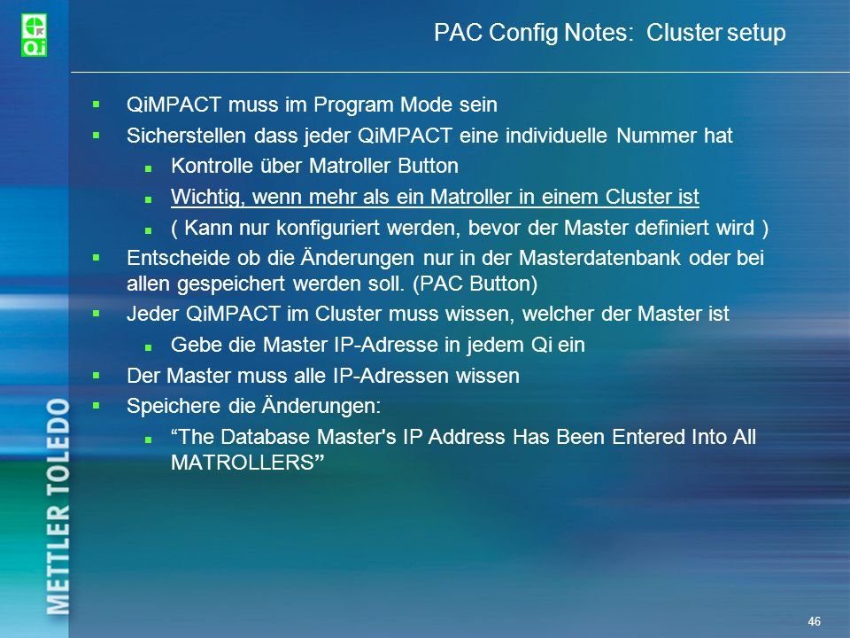 PAC Config Notes: Cluster setup