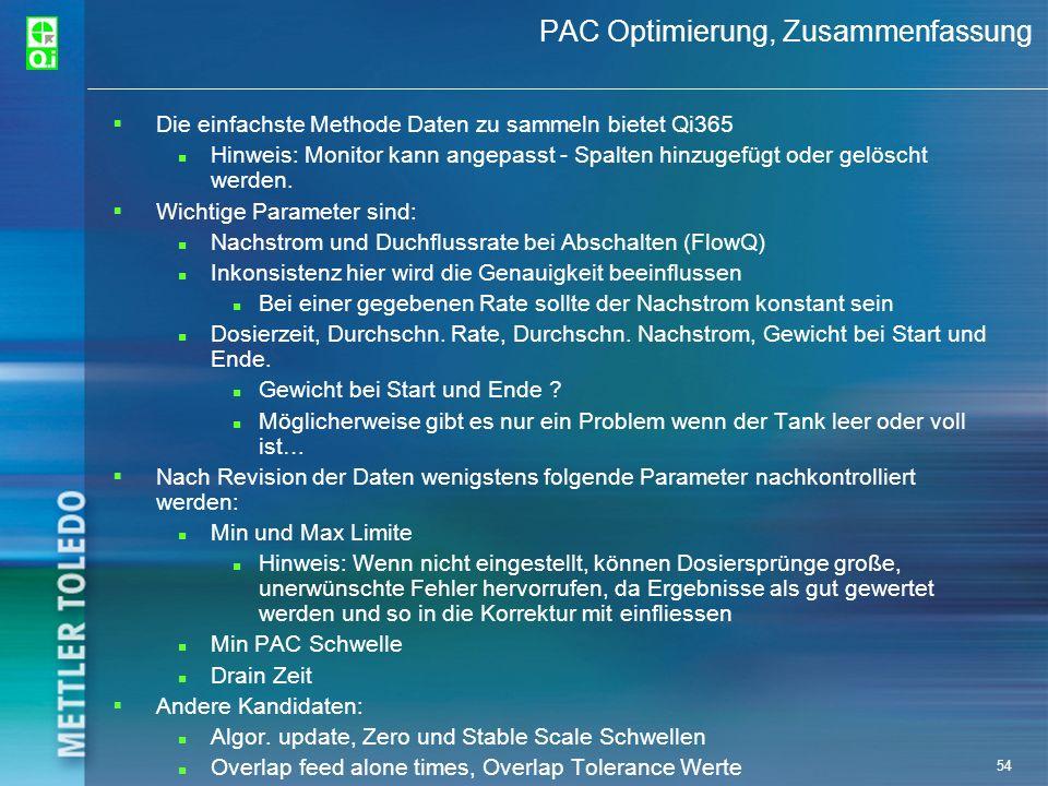 PAC Optimierung, Zusammenfassung